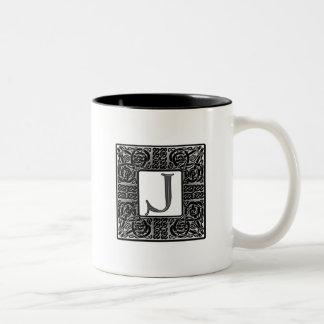 "Silver Celtic ""J"" Monogram Mug"