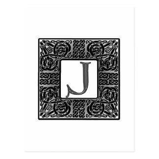 "Silver Celtic ""J"" Monogram Postcard"