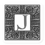 "Silver Celtic ""J"" Monogram Square Sticker"