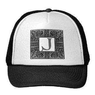 """Silver Celtic """"J"""" Monogram Trucker Hat"""