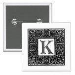 """Silver Celtic """"K"""" Monogram 2 Inch Square Button"""