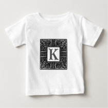 "Silver Celtic ""K"" Monogram Baby T-Shirt"
