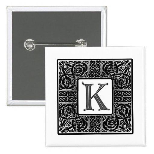 "Silver Celtic ""K"" Monogram Pin"