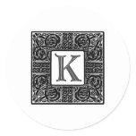 "Silver Celtic ""K"" Monogram Classic Round Sticker"