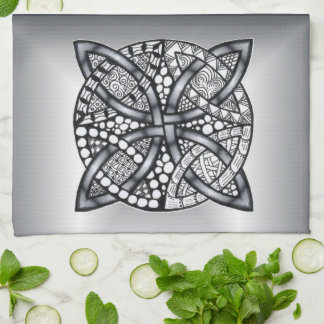 Silver Celtic Knot Customizable Hand Towel