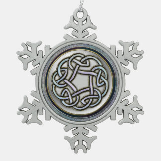 Silver Celtic Knot Snowflake Christmas Ornament