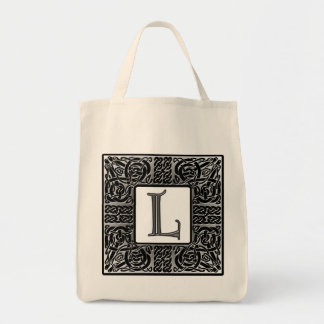 "Silver Celtic ""L"" Monogram Tote Bag"