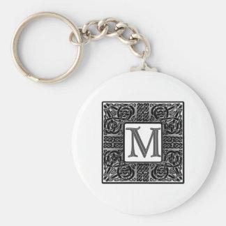 """Silver Celtic """"M"""" Monogram Basic Round Button Keychain"""