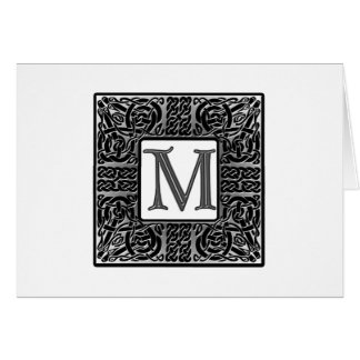 "Silver Celtic ""M"" Monogram Card"