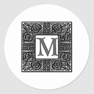 "Silver Celtic ""M"" Monogram Classic Round Sticker"