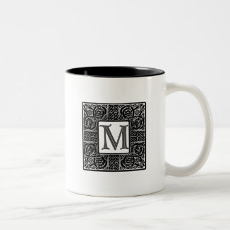 "Silver Celtic ""M"" Monogram Coffee Mugs"