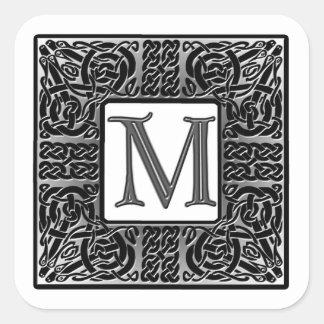 """Silver Celtic """"M"""" Monogram Square Sticker"""
