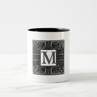 """Silver Celtic """"M"""" Monogram Two-Tone Coffee Mug"""