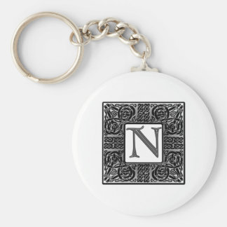 "Silver Celtic ""N"" Monogram Keychain"