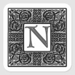 "Silver Celtic ""N"" Monogram Square Sticker"