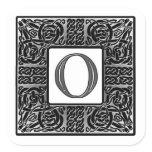 """Silver Celtic """"O"""" Monogram Square Sticker"""