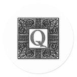 "Silver Celtic ""Q"" Monogram Classic Round Sticker"