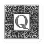 """Silver Celtic """"Q"""" Monogram Square Sticker"""