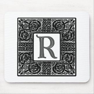 "Silver Celtic ""R"" Monogram Mouse Pad"
