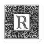"""Silver Celtic """"R"""" Monogram Square Sticker"""