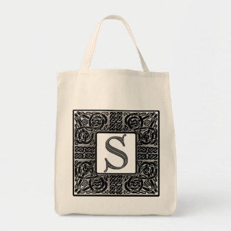 "Silver Celtic ""S"" Monogram Canvas Bag"