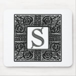 "Silver Celtic ""S"" Monogram Mouse Pad"