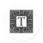 "Silver Celtic ""T"" Monogram Classic Round Sticker"