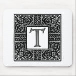 "Silver Celtic ""T"" Monogram Mouse Pad"