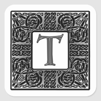 "Silver Celtic ""T"" Monogram Square Sticker"