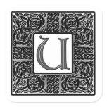 """Silver Celtic """"U"""" Monogram Square Sticker"""