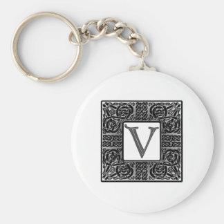 """Silver Celtic """"V"""" Monogram Keychain"""