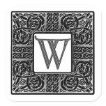 """Silver Celtic """"W"""" Monogram Square Sticker"""