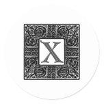 "Silver Celtic ""X"" Monogram Classic Round Sticker"