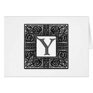 """Silver Celtic """"Y"""" Monogram Card"""