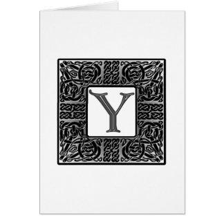 "Silver Celtic ""Y"" Monogram Greeting Card"