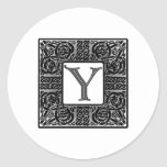 "Silver Celtic ""Y"" Monogram Classic Round Sticker"