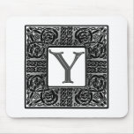 "Silver Celtic ""Y"" Monogram Mouse Pad"