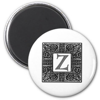 "Silver Celtic ""Z"" Monogram 2 Inch Round Magnet"