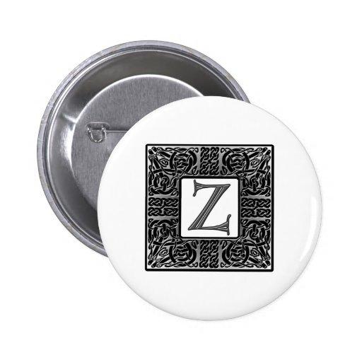 "Silver Celtic ""Z"" Monogram Button"