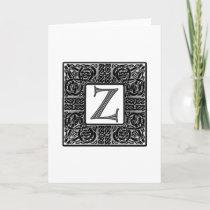 """Silver Celtic """"Z"""" Monogram Note Card"""