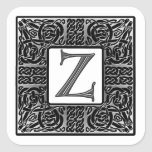 "Silver Celtic ""Z"" Monogram Square Sticker"