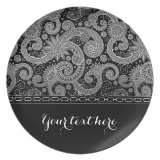 Silver Chain and Paisley Melamine Plate