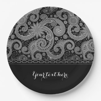 Silver Chain and Paisley Paper Plate