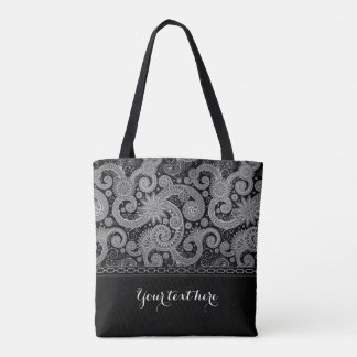 Silver Chain and Paisley Tote Bag