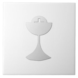 Silver Chalice and Host Tile