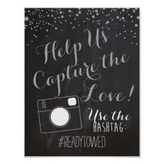 Silver Chalk and Glitter Wedding Hash Tag Sign Poster