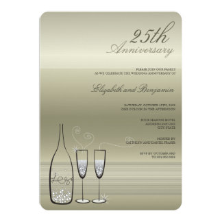 Silver Champagne 25th Anniversary Wedding Invite