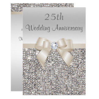 Silver Champagne 25th Wedding Anniversary Sequins Invitation