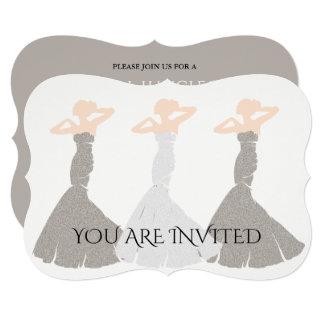 Silver Champagne Bridesmaid Bridal Invitation