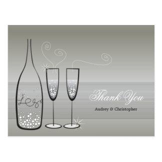 Silver Champagne Bubbly Wedding Thank You Postcard